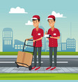 poster city landscape with fast delivery men with vector image vector image