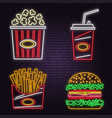 retro neon burger cola popcorn and french fries vector image vector image
