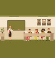 school classroom with children on laptops vector image vector image