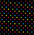 seamless colorful polka dot pattern on black vector image