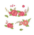 set floral bouquets retro flowers vector image