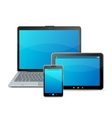 Set of blank modern mobile devices isolated on vector image vector image