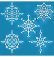 Set of ornate snowflakes against blue background vector image vector image