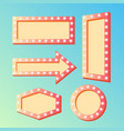 shining retro light banners set - frames with vector image vector image