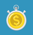 stopwatch with gold dollar currency coin vector image vector image
