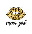 supergirl slogan and lip wit leopard seamless vector image