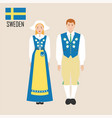 sweden woman and man in traditional costume vector image