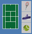 tennis court with sneakers and ball with racket vector image vector image