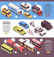 transport horizontal isometric banners vector image
