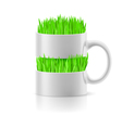 White mug with insertion of grass vector image