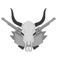 Wild west cow skull pistols ribbon logo Gray vector image vector image