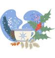 winter tea holly rowan and christmas tree vector image
