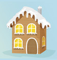 wooden house with snow on top vector image vector image