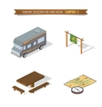 Isometric 3d forest camping elements vector image