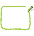a yellow green square crayon message frame vector image