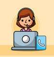 agent woman laptop and address book customer vector image