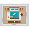 Bedroom with furniture overhead top view vector image