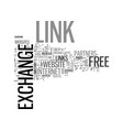 benefits of a free link exchange service text vector image vector image