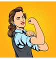 Business woman hand gesture pop art style vector image vector image