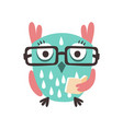 cartoon owl bird in eyeglasses holding a book vector image