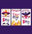 cinco de mayo set holiday poster vector image vector image