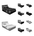 different beds blackmonochrom icons in set vector image