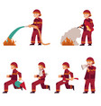 fireman extinguishing fire set isolated on white vector image vector image