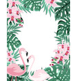 flamingo floral frame vector image vector image