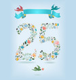 floral number twenty five with ribbon and birds vector image vector image