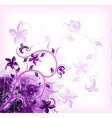 Floral violet on grunge background vector image