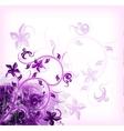 Floral violet on grunge background vector image vector image