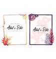 frames with colorful corals on white background vector image