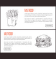 french fries portion and yummy burger langing page vector image