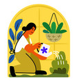 girl in a greenhouse watering a plant vector image