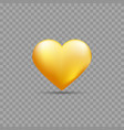 gold heart with shadow vector image vector image