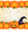 halloween background with borders of pumpkins and vector image