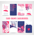 Hand drawn 8 cards with trendy textures Business vector image vector image