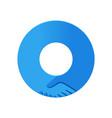handshake circle shape logo union concept vector image