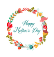 happy Motherss day with wreath flower greeting vector image vector image