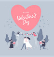 happy valentine day with lovely couple celebration vector image vector image