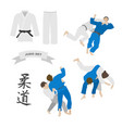 judo set kimono and throws vector image