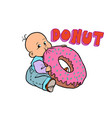 little baby favorite cute baby eating a donut vector image