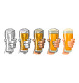 man hand holding and clinking beer glass vector image