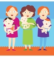 Mothers holding beautiful babies vector image vector image