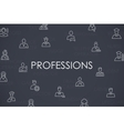 Professions Thin Line Icons vector image