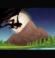 rock climbing on fullmoon night vector image vector image