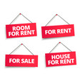 room for rent rope sign set word on red ribbon vector image vector image