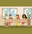 room with children characters studying online flat vector image