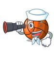 sailor with binocular volleyball mascot cartoon vector image