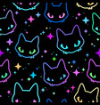 seamless colorful neon cat heads vector image